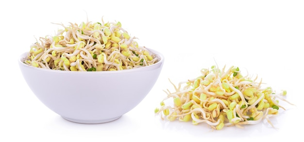 Bean sprouts, soybean sprouts on white Premium Photo