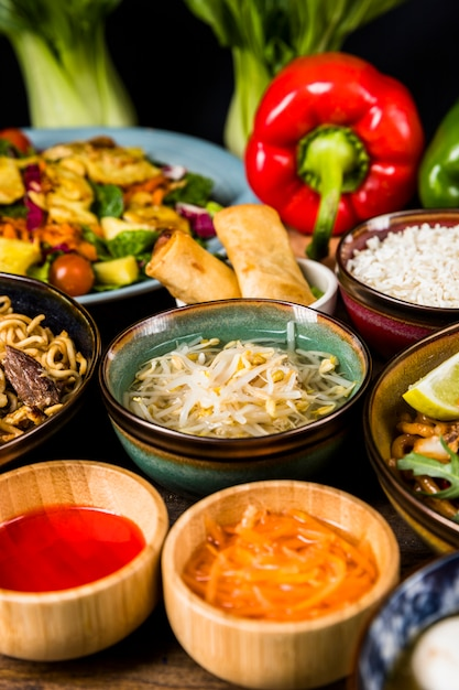 Beans sprout surrounded with salad; sauce; spring rolls and noodles Free Photo