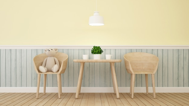 Bear doll on cafe or kid room - 3d rendering Premium Photo