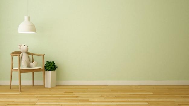 Bear doll in kid room or living room - 3d rendering Premium Photo