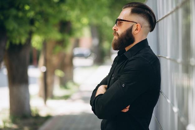 Bearded man in park Free Photo
