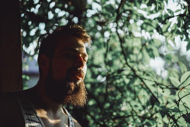 A bearded man at sunset Free Photo