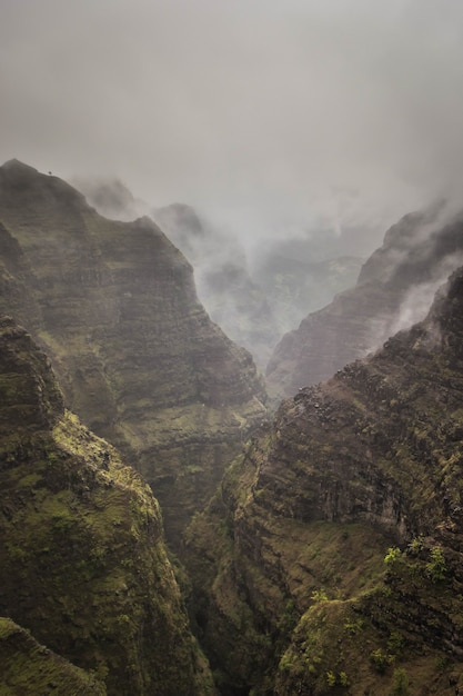 Beautiful aerial shot of rocky and foggy mountains of waimea canyon, united states Free Photo