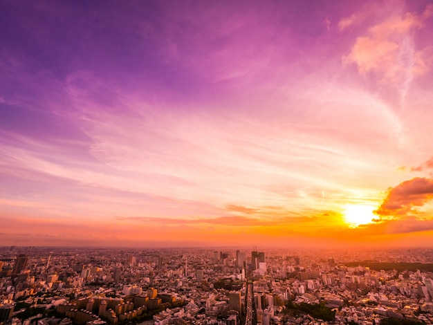 Beautiful aerial view of architecture and building around tokyo city at sunset time Free Photo