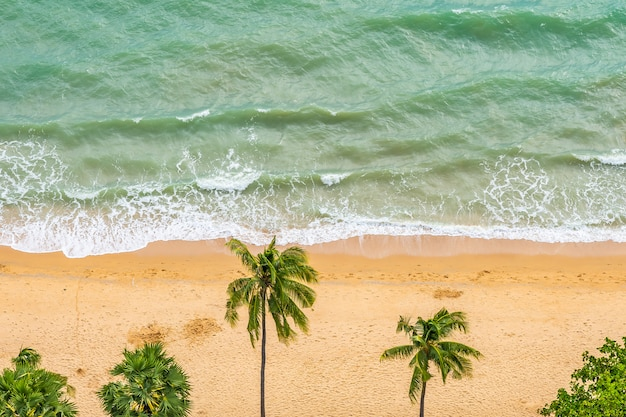 Beautiful aerial view of tropical beach sea Free Photo