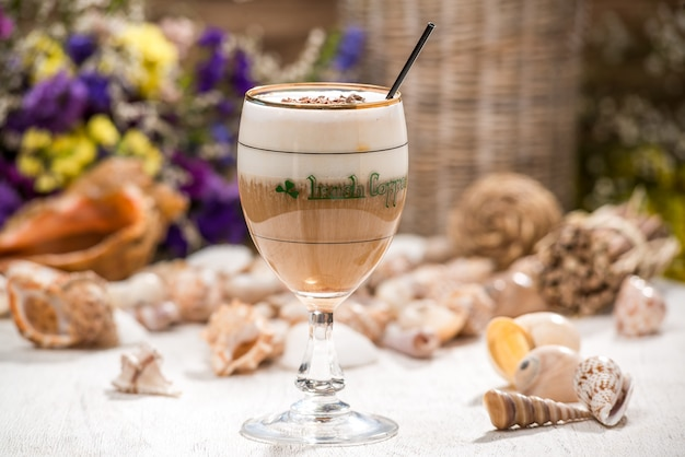 Beautiful alcoholic cocktail, on a wooden table Premium Photo