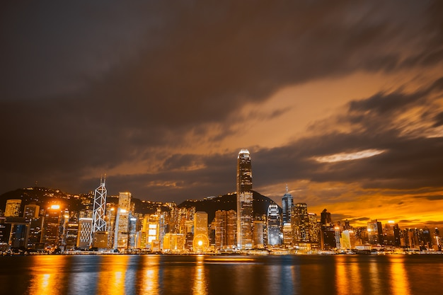 Beautiful architecture building cityscape in hong kong city Free Photo