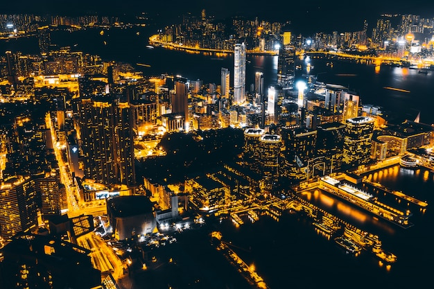Beautiful architecture building exterior cityscape of hong kong city skyline Free Photo