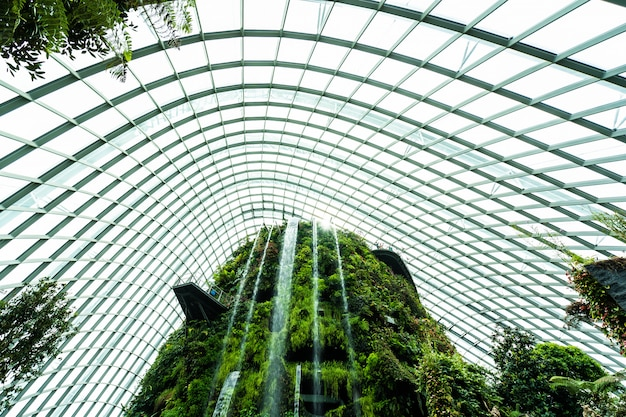 Beautiful architecture building flower dome garden and greenhouse forest for travel Free Photo