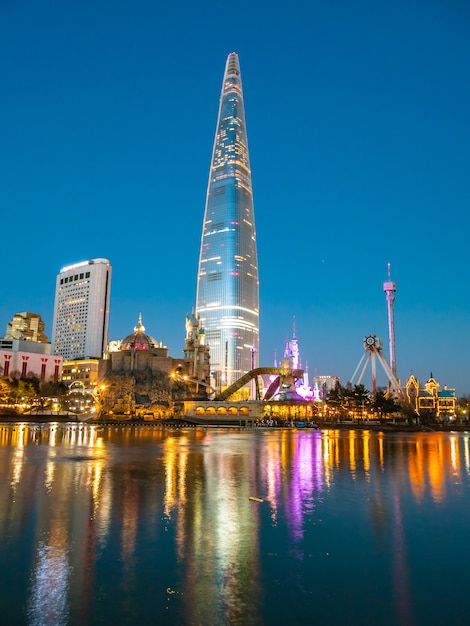 Beautiful architecture building lotte tower Free Photo