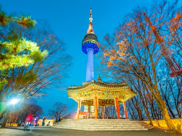 Beautiful architecture building n seoul tower Free Photo