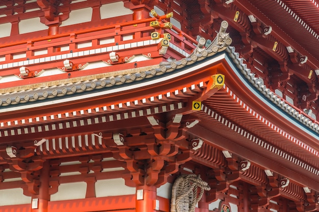 Beautiful architecture building sensoji temple is the famous place for visit in asakusa area Free Photo