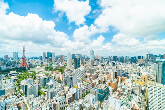 Beautiful architecture building in tokyo city skyline Free Photo