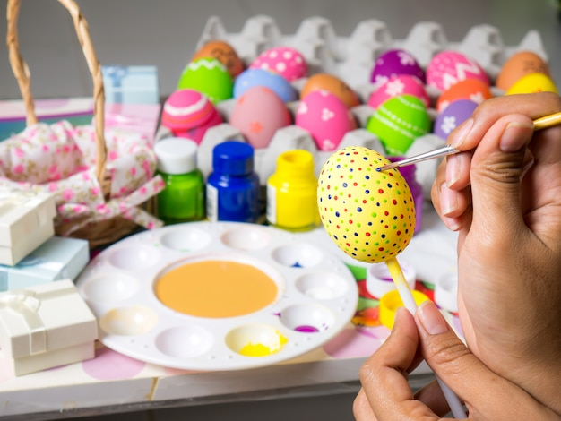 Beautiful art on eggs in easter festival. Premium Photo