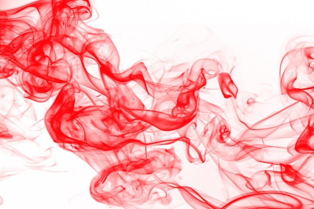 Beautiful art of red smoke abstact on white background, ink water color Premium Photo