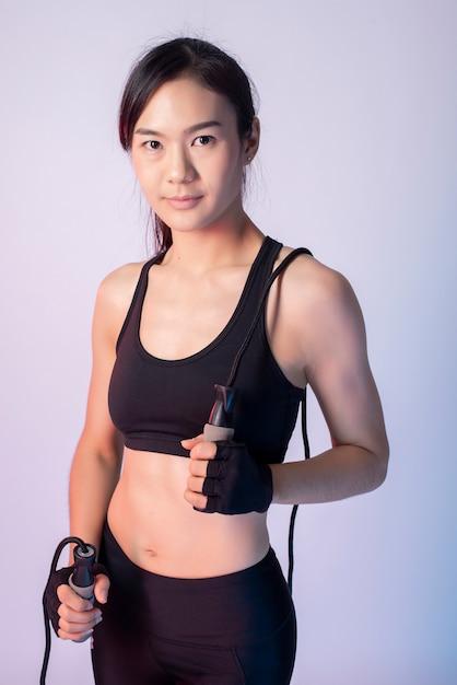 Beautiful asian fitnesses woman in studio Premium Photo
