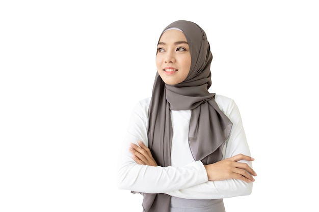 Beautiful asian muslim woman portrait close up. isolated with clipping path. Premium Photo