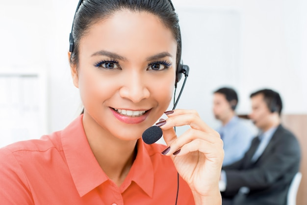 Beautiful asian woman telemarketing customer service agent working in call center Premium Photo