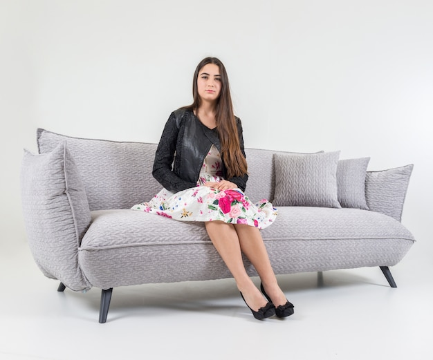 Super Beautiful Attractive Girl Sitting On Modern Sofa In White Squirreltailoven Fun Painted Chair Ideas Images Squirreltailovenorg