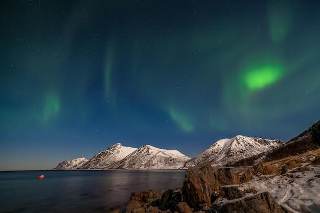 Lofoten 섬, 노르웨이-유럽 북부의 산과 아름다운 오로라 보 리 얼리 스, 북극광 프리미엄 사진