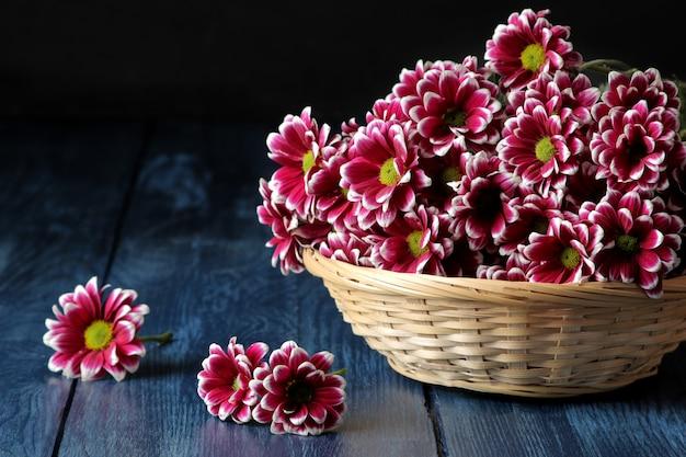 Красивые осенние цветы хризантемы в корзине на синем деревянном столе Premium Фотографии