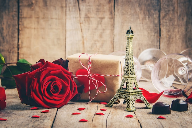 Beautiful background on the theme of love of the holiday and a pleasant mood. selective focus. Premium Photo