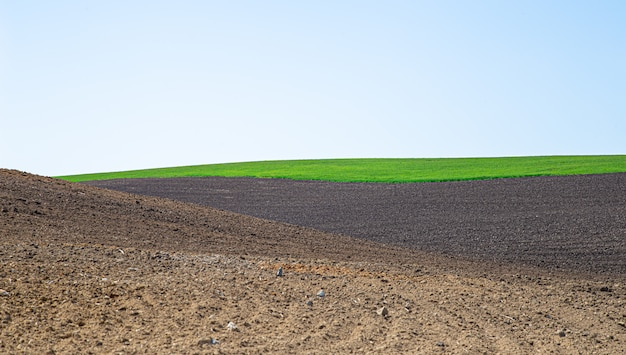 Красивые черноземные поля в украине. сельскохозяйственный сельский пейзаж Бесплатные Фотографии