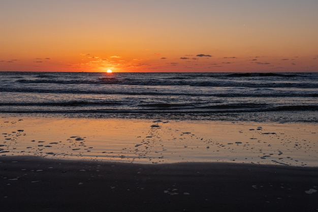 Beautiful Blazing Sunset Landscape At Black Sea And Orange