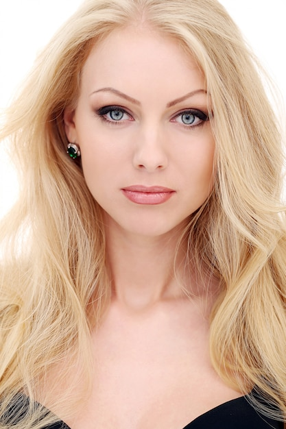 Pure Beauty. Portrait Of Young Blonde With Healthy Flowing Hair Stock Photo - Image of