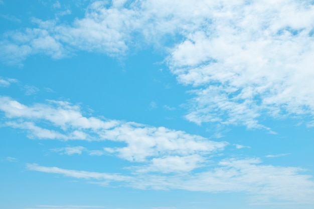 Beautiful blue sky with white air clouds Premium Photo
