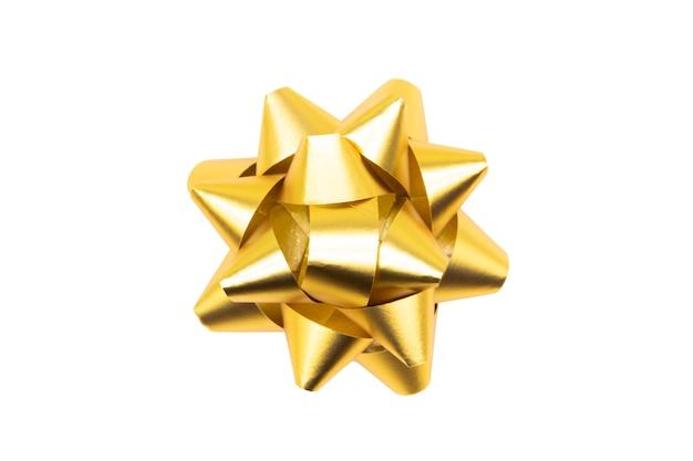 Beautiful bow gift. gold ribbon. Premium Photo