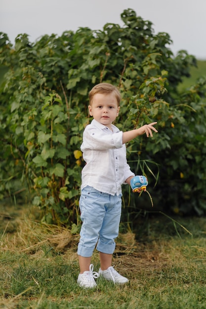 庭で晴れた日に泡で遊ぶ美しい少年。 無料写真