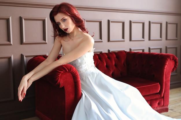 Beautiful bride in white wedding dress Free Photo
