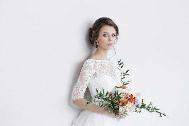 Beautiful bride with white dress Free Photo