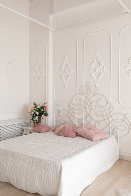 Beautiful Bright Bedroom Interior Bedroom With Big Bed Bed With