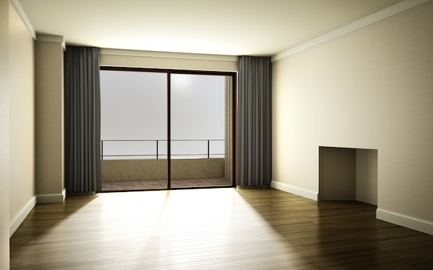 커튼과 Parq로 장식 된 태양 빛이 통과하는 아름다운 밝고 따뜻한 방 프리미엄 사진