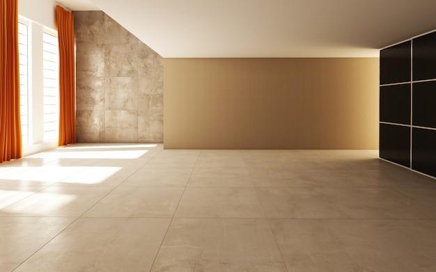 커튼과 타일로 장식 된 태양 빛이 통과하는 아름다운 밝고 따뜻한 방 프리미엄 사진