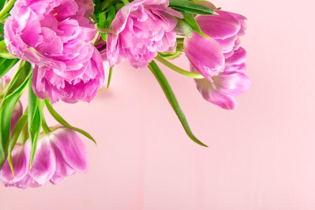 Beautiful bunch of purple peony style tulips Premium Photo