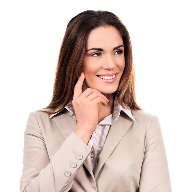 白で隔離ポーズの美しいビジネス女性 無料写真