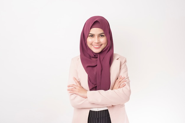 Beautiful business woman with hijab portrait on white background Premium Photo