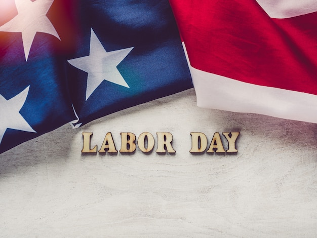 Beautiful card with congratulations on labor day Premium Photo