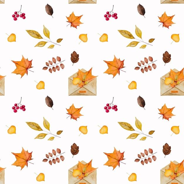 水彩で描かれた、秋をテーマにしたさまざまな絵が描かれた美しいカード。クローズアップ、上からの眺め Premium写真