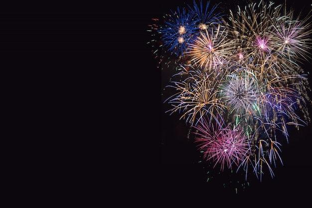 Beautiful celebration  lilac, purple and golden fireworks Premium Photo
