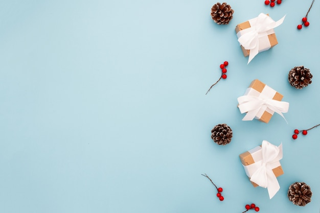 Beautiful christmas composition on a blue background Free Photo