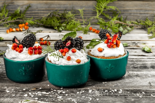 Красивый рождественский кекс со сливками и ягодами на деревянных шишках с корицей Бесплатные Фотографии