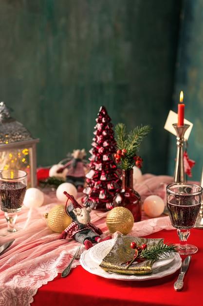 Beautiful Christmas table setting at home