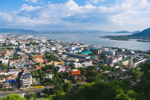 The beautiful cityscape of songkhla city and songkhla lake with the islands from the view point. Premium Photo