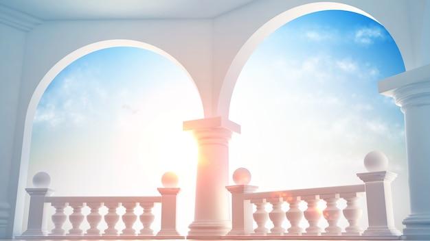 Красивый, классический интерьер с террасой Premium Фотографии