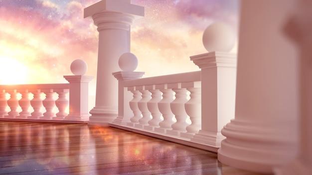 테라스가있는 아름답고 고전적인 인테리어 프리미엄 사진