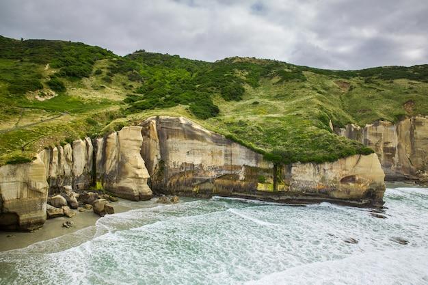 ニュージーランド、ダニーデンのトンネルビーチの美しい崖 Premium写真